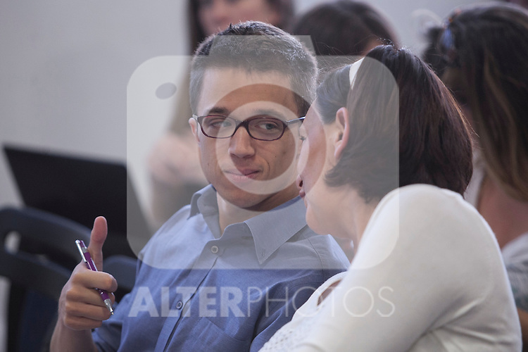 "`Podemos´ political party members Inigo Errejon and Carolina Bescansa during the presentation of ""Ruta del Cambio"" - Pablo Iglesias Tour in Madrid, Spain. June 18, 2015. (ALTERPHOTOS/Victor Blanco)"