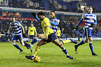 Blackburn Rovers' Bradley Dack shoots under pressure from Reading's Lewis Baker  <br /> <br /> Photographer Andrew Kearns/CameraSport<br /> <br /> The EFL Sky Bet Championship - Reading v Blackburn Rovers - Wednesday 13th February 2019 - Madejski Stadium - Reading<br /> <br /> World Copyright © 2019 CameraSport. All rights reserved. 43 Linden Ave. Countesthorpe. Leicester. England. LE8 5PG - Tel: +44 (0) 116 277 4147 - admin@camerasport.com - www.camerasport.com