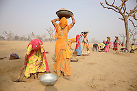 Women working on a rainwater harvesting project near the village of Paladi Bhopatan. The women work digging channels for underground aquafers to direct water if/when it rains. The area has been suffering from a severe drought for the last eight years...
