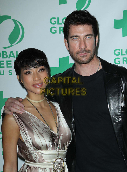 Shasi Wells, Dylan McDermott.10th Annual Global Green USA Pre-Oscar Party held at Avalon, Hollywood, California, USA..20th February 2013.half length black leather jacket top white silver dress couple stubble beard facial hair .CAP/ADM/KB.©Kevan Brooks/AdMedia/Capital Pictures.