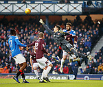 01.12.2019 Rangers v Hearts: Joel Pereira punches clear for Hearts