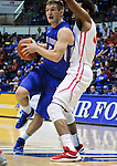 February 20, 2016 - Colorado Springs, Colorado, U.S. -   Air Force guard, Zach Kocur #5, drives for the basket during a Mountain West Conference victory during an NCAA basketball game between the University of New Mexico Lobos and the Air Force Academy Falcons at Clune Arena, United States Air Force Academy, Colorado Springs, Colorado.  Air Force defeats New Mexico 76-72.