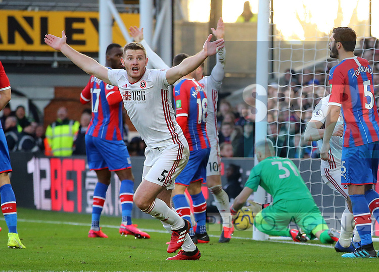 Jack O'Connell of Sheffield Utd celebrates the goal as Vicente Guaita of Crystal Palace fumbles the ball across the line during the Premier League match at Selhurst Park, London. Picture date: 1st February 2020. Picture credit should read: Paul Terry/Sportimage