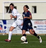 Angela Hucles, Sara Bjork Gunnarsdottir.  The USWNT defeated Iceland, 1-0, at Ferreiras, Portugal.