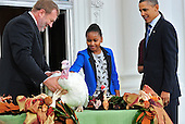 Sasha Obama, center, pets Liberty, the National Thanksgiving Turkey following a  ceremony on the North Portico of the White House in Washington, D.C. on Wednesday, November 23, 2011.   a 19-week old, 45-pound Turkey will live out its life at George Washington's Mount Vernon Estate and Gardens in Mount Vernon, Virginia. At right is United States President Barack Obama and at left is National Turkey Federation Chairman Richard Huisinga..Credit: Ron Sachs / CNP.(RESTRICTION: NO New York or New Jersey Newspapers or newspapers within a 75 mile radius of New York City)