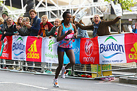 Tirunesh Dibaba of Etheopia runs into 2nd place in the London Marathon elite womens class during the 2017 Virgin Money London Marathon at London, England on 23 April 2017. Photo by Steve McCarthy/PRiME Media Images