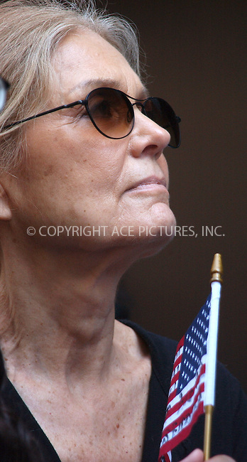 WWW.ACEPIXS.COM . . . . . ....NEW YORK, JULY 4, 2005 ....Gloria Steinem protesting the U.S. prison camps in Guantanamo Bay Cuba demanding that they be shut down and investigated.  34th street between 6th and 7th ave.....Please byline: KRISTIN CALLAHAN - ACE PICTURES.. . . . . . ..Ace Pictures, Inc:  ..Craig Ashby (212) 243-8787..e-mail: picturedesk@acepixs.com..web: http://www.acepixs.com