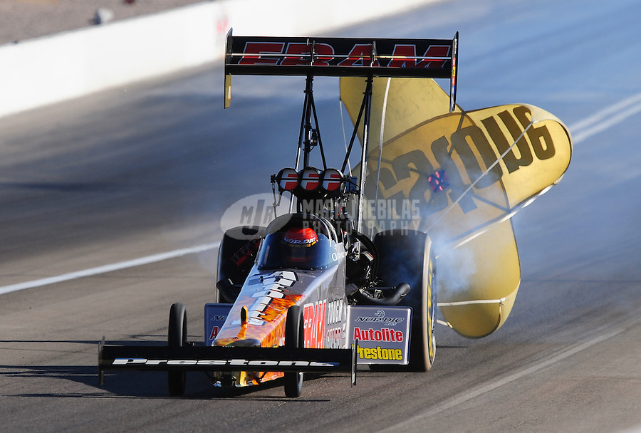 Apr. 4, 2009; Las Vegas, NV, USA: NHRA top fuel dragster driver Cory McClenathan during qualifying for the Summitracing.com Nationals at The Strip in Las Vegas. Mandatory Credit: Mark J. Rebilas-