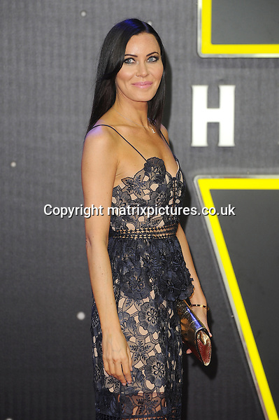 NON EXCLUSIVE PICTURE: PAUL TREADWAY / MATRIXPICTURES.CO.UK<br /> PLEASE CREDIT ALL USES<br /> <br /> WORLD RIGHTS<br /> <br /> British violinist Linzi Stoppard attending the European Premiere of Star Wars: The Force Awakens in Leicester Square, London.<br /> <br /> DECEMBER 16th 2015<br /> <br /> REF: PTY 153700