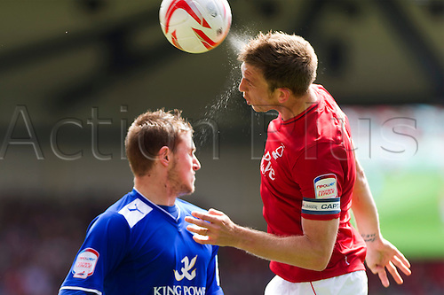 04.05.2013 Nottingham, England.  Nottingham Forest's Danny Collins (Capt) during the Championship game between Nottingham Forest and Leicester City from the City Ground.