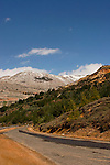 The Golan Heights. The road to Nimrod, Mount Hermon is in the background
