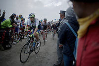 Sam Bewley (NZL/Orica-GreenEDGE) filming his way up the dirt roads of the Colle delle Finestre (2178m)<br /> <br /> Giro d'Italia 2015<br /> stage 20: Saint Vincent - Sestriere (199km)