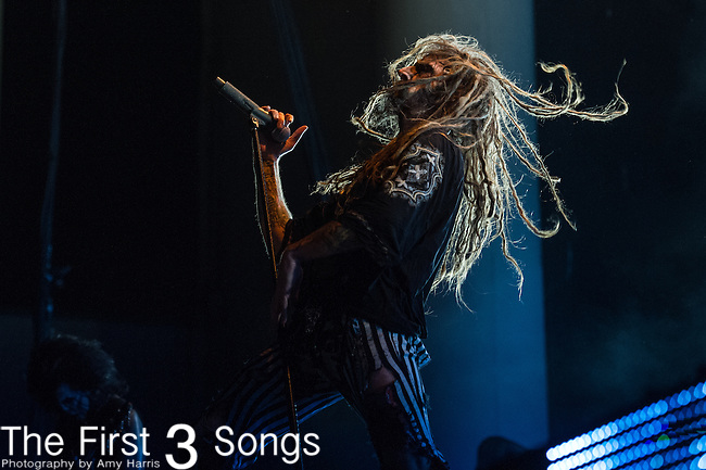 Rob Zombie of Rob Zombie performs during the 2013 Mayhem Festival at Klipsch Music Center in Indianapolis, Indiana.