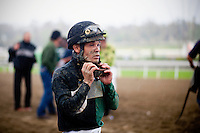 Jockey,Martin Pedroza after a race at Santa Anita Park in Arcadia California on February 11, 2012.