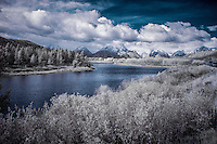 Infrared image of Oxbow Bend overlook on the Snake River in Teton National Park, Jackson Wyoming.