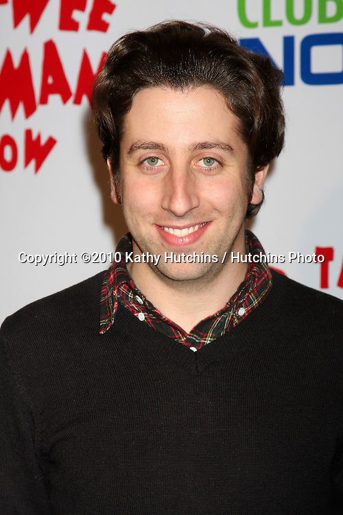 "Simon Helberg.arriving at the ""The Pee Wee Herman Show"" Opening Night..Club Nokia.Los Angeles, CA.January 20, 2010.©2010 Kathy Hutchins / Hutchins Photo...."
