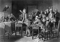 Patrick Henry Addressing the Virginia Assembly. 1765.  Engraving attributed to H. B. Hall after Alonzo Chappel, published 1867. (OWI)<br />Exact Date Shot Unknown<br />NARA FILE #:  208-LU-25K-4<br />WAR & CONFLICT #:  1