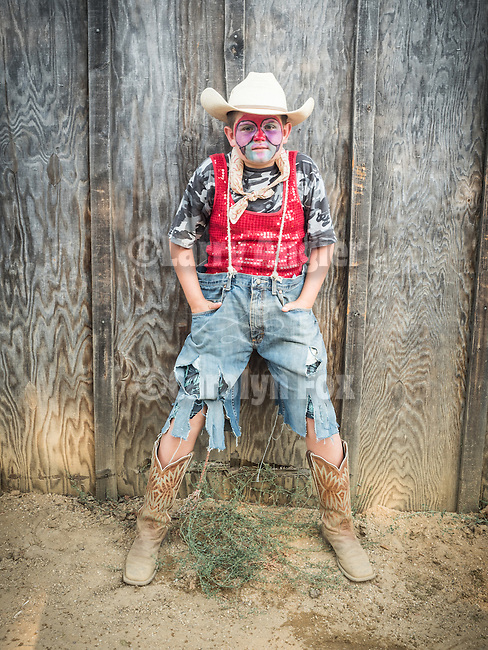 Opening day 78th Amador County Fair, Plymouth, Calif.<br /> <br /> Mutton Bustin' <br /> <br /> Cade White, Mutton Bustin' clown