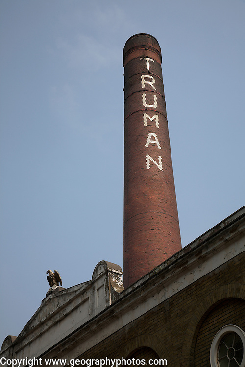 Chimney and building, former Truman brewery, Brick Lane, E1, London, England