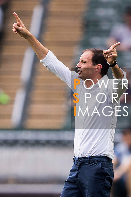 Juventus' head coach Massimiliano Allegri gestures during the South China vs Juventus match of the AET International Challenge Cup on 30 July 2016 at Hong Kong Stadium, in Hong Kong, China.  Photo by Marcio Machado / Power Sport Images