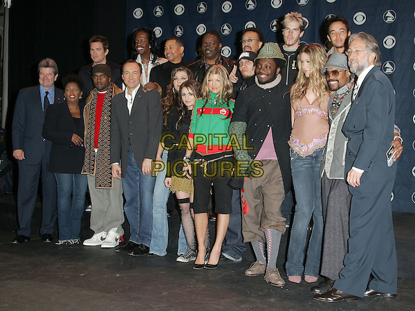 KEVIN SPACEY, OSS STONE, BLACK EYED PEAS, ANITA BAKER, KANYE WEST, HOOBASTANK & EARTH, WIND & FIRE.The 47th Annual Grammy Award Nominees Announcements. The announcements were held at The Music Box in Hollywood, California .December 7th, 2004.full length, group shot.www.capitalpictures.com.sales@capitalpictures.com.Supplied By Capital PIctures