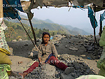 Chin girl working at a road construction site in Mizoram