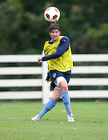 USWNT defender Amy LePeilbet passes the ball upfield during practice in Chester, PA.  The USWNT will take on China, in an international friendly at PPL Park, on October 6.