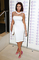 Amy Childs arriving at James' Jog On To Cancer Event, Kensington Roof Gardens, London. 09/04/2014 Picture by: Alexandra Glen / Featureflash