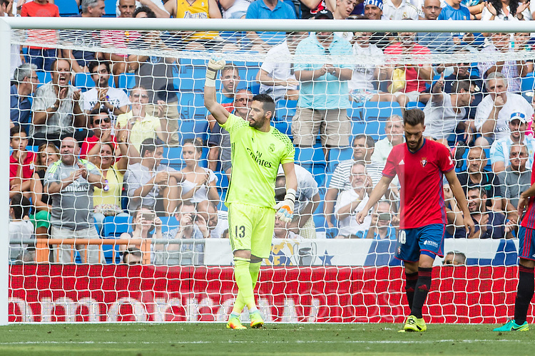 Real Madrid's Kiko Casilla during the match of La Liga between Real Madrid and Club Atletico Osasuna at Santiago Bernabeu Estadium in Madrid. September 10, 2016. (ALTERPHOTOS/Rodrigo Jimenez)