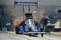 Apr. 13, 2012; Concord, NC, USA: NHRA top fuel dragster driver Antron Brown during qualifying for the Four Wide Nationals at zMax Dragway. Mandatory Credit: Mark J. Rebilas-