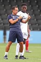 Bromley manager, Neil Smith, talks tactics with Prince Ogunmekan during Bromley vs Fulham, Friendly Match Football at the H2T Group Stadium on 6th July 2019