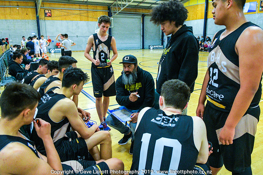 Action from the 2019 Schick AA Boys' National Secondary Schools Basketball Premiership Championship 13th place playoff between St Patrick's College Town and Middleton Grange at the Central Energy Trust Arena in Palmerston North, New Zealand on Saturday, 5 October 2019. Photo: Dave Lintott / lintottphoto.co.nz