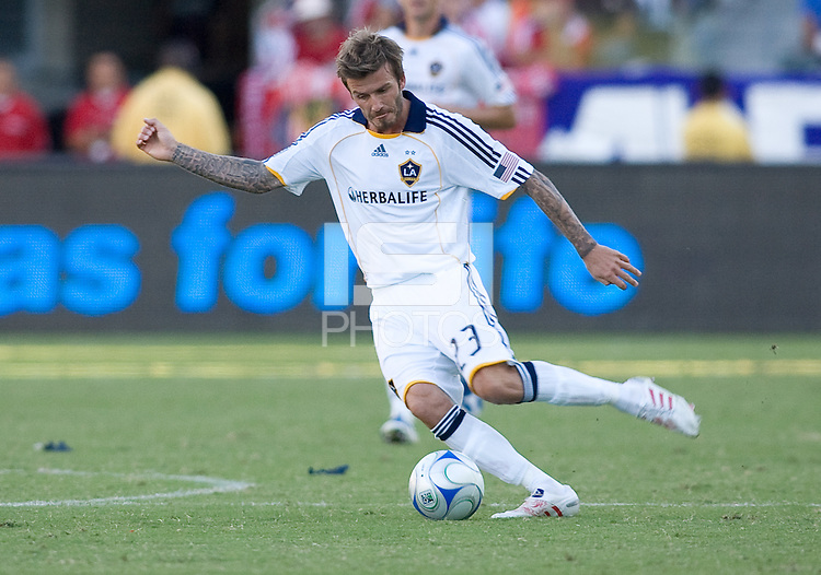 LA Galaxy midfielder David Beckham moves with the ball. The LA Galaxy and Chivas USA played to 2-2 draw during a MLS Western Conference playoff game at Home Depot Center stadium in Carson, California on Sunday November 1, 2009...