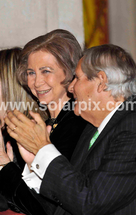 **ALL ROUND PICTURES FROM SOLARPIX.COM**.**WORDLWIDE SYNDICATION RIGHTS EXCEPT FOR SPAIN**NO PUBLICATION IN SPAIN**.Queen Sofia of Spain enjoys an evening of poetry and music at an event where the most prestigious spanish language poetry award was presented by representatives from Salamanca University. Attendees also included the minister for equality and numerous guests from education and the arts. Royal Palace, Madrid, Spain. 19th November 2008..This pic: Queen Sofia of Spain..JOB REF: 7956 PTG (CPicasso)  DATE: 19_11_2008.**MUST CREDIT SOLARPIX.COM OR DOUBLE FEE WILL BE CHARGED* *UNDER NO CIRCUMSTANCES IS THIS IMAGE TO BE REPRODUCED FOR ANY ONLINE EDITION WITHOUT PRIOR PERMISSION*