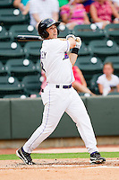 Michael Earley #8 of the Winston-Salem Dash follows through on his swing against the Myrtle Beach Pelicans at BB&T Ballpark on July 5, 2012 in Winston-Salem, North Carolina.  The Dash defeated the Pelicans 12-5.  (Brian Westerholt/Four Seam Images)