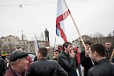 Prorussische Demonstranten auf dem Leninplatz in Simferopol, 04.03.2014
