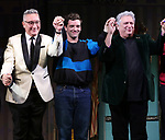 "Moises Kaufman, Michael Urie and Harvey Fierstein  during the Broadway Opening Night Curtain Call for ""Torch Song"" at the Hayes Theater on November 1, 2018 in New York City."