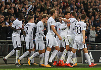 Dele Alli of Tottenham Hotspur celebrates with team-mates after opening the scoring against Real Madrid during the UEFA Champions League Group H match between Tottenham Hotspur and Real Madrid at Wembley Stadium on November 1st 2017 in London, England. Foto Phc / Panoramic / Insidefoto