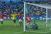 June 1th 2017, Ullevaal Stadion, Oslo, Norway; International Football Friendly 2018 football, Norway versus Sweden;  Samuel Armenteros of Sweden scores his goal past Orjan Nyland of Norway