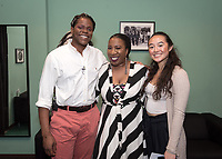 Tarana Burke poses with students Chance Ward '18 and Inez Leon '21.<br /> An Evening with Tarana Burke, founder of the #MeToo movement & social justice activist, Thorne Hall, Feb. 26, 2018.<br /> Tarana Burke shares the heartbreaking story behind the genesis of the viral 'me too' movement, and gives strength and healing to those who have experienced sexual trauma or harassment. The simple yet courageous #metoo hashtag campaign amplified by actress Alyssa Milano, has emerged as a rallying cry for people everywhere who have survived sexual assault and sexual harassment – and Tarana's powerful, poignant story as creator of what is now an international movement that supports survivors will move, uplift, and inspire you.<br /> Sponsored by: Residential Education & Housing Services, Project SAFE, Office of Community Engagement, Intercultural Community Center, Chief Diversity Officer & Remsen Bird.<br /> (Photo by Marc Campos, Occidental College Photographer)