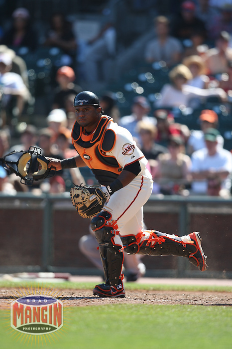 SAN FRANCISCO - SEPTEMBER 7:  Pablo Sandoval of the San Francisco Giants plays defense at catcher during the game against the Pittsburgh Pirates at AT&T Park in San Francisco, California on September 7, 2008.  The Giants defeated the Pirates 11-6.  Photo by Brad Mangin