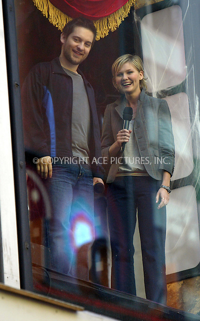 Tobey Maguire and Kirsten Dunst making an appearance on MTV's 'TRL' Show. New York, June 29, 2004. Please byline: PHILIP VAUGHAN/ACE Pictures.   .. *** ***  ..All Celebrity Entertainment, Inc:  ..contact: Alecsey Boldeskul (646) 267-6913 ..Philip Vaughan (646) 769-0430..e-mail: info@nyphotopress.com