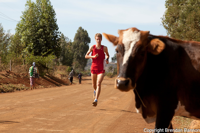 Belgian Marathon runner Florent Caelen, training outside of Eldoret, Kenya.