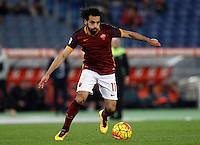 Calcio, Serie A:  Roma vs Palermo. Roma, stadio Olimpico, 21 febbraio 2016. <br /> Roma&rsquo;s Mohamed Salah in action during the Italian Serie A football match between Roma and Palermo at Rome's Olympic stadium, 21 February 2016.<br /> UPDATE IMAGES PRESS/Riccardo De Luca