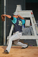 Lynchburg Hillcats pitcher Shao-Ching Chiang (30) throwing in the bullpen before a game against the Myrtle Beach Pelicans at Ticketreturn Field at Pelicans Ballpark on April 15, 2017 in Myrtle Beach, South Carolina. Lynchburg defeated Myrtle Beach 5-3. (Robert Gurganus/Four Seam Images)