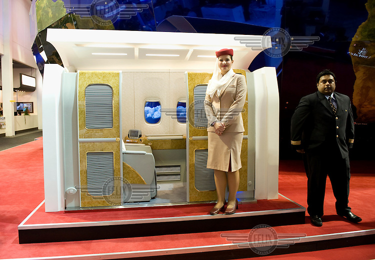 A cabin in the exhibition hall of Fly Emirates at the ITB (Internationale Tourismus Boerse) travel trade fair in Berlin.