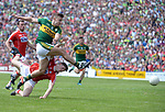 2-7-2017: Kerry's James O'Donoghue blasts for goal at the Kerry V Cork Munster Football final in Killarney on Sunday.<br /> Photo: Don MacMonagle