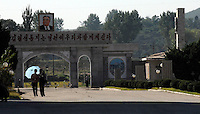 Portrait of Kim Il-sung in the Pyongyang film studios and sets, North Korea.