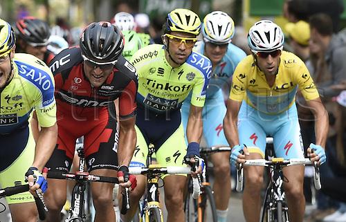 11.07.2014. Eperney to nancy, France. Tour de France cycling tour.  VAN AVERMAET Greg BEL of BMC Racing Team - CONTADOR Alberto ESP of Tinkoff-Saxo - NIBALI Vincenzo ITA of Astana Pro Team
