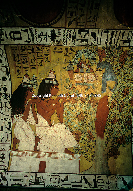 Valley of the Kings artist Sennedjem and his Wife worship before Goddess Hathor of the Sycamore tree,Tutankhamun and the Golden Age of the Pharaohs, Page 56